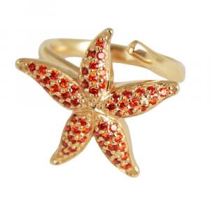 Anello design stella marina in argento e pavé di zirconi orange