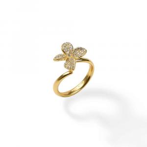 Anello design fiore in argento con pavé di zirconi bianchi