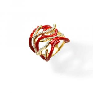 Anello design ramo di coralli in argento, smalto rosso e zirconi