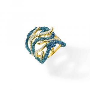 Anello design ramo di coralli in argento, smalto azzurro e zirconi