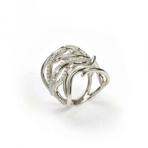Anello design ramo di coralli in argento e zirconi bianchi