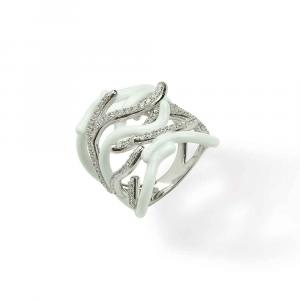 Anello design ramo di coralli in argento, smalto bianco e zirconi