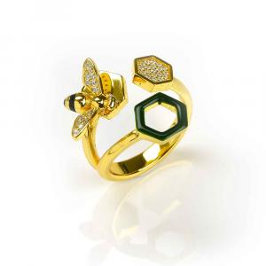 Anello design alveare e ape in argento, smalto verde e zirconi