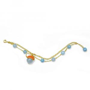 Bracciale a catena in argento con agata azzurra e charm balena