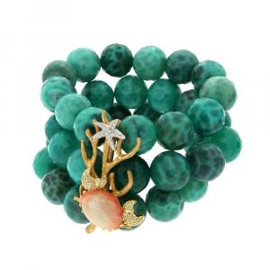 Bracciale con sfere di agata verde, ramo di coralli e granchio