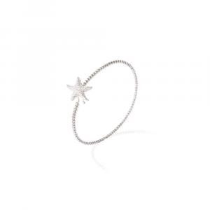 Bracciale rigido in argento con stella marina di zirconi