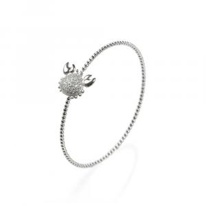 Bracciale rigido in argento con granchio in pavé di zirconi bianchi