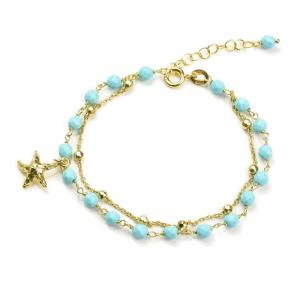 Bracciale in argento, sfere di pasta di turchese e charm stella marina