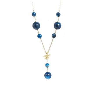 Collana in argento con sfere di agata blu e stella marina