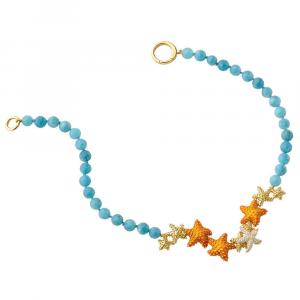 Collana con sfere di quarzo celeste e stelle marine in smalto e zirconi
