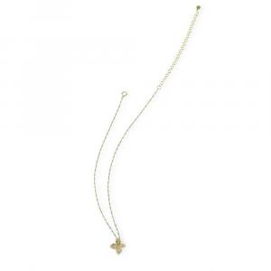 Catena in argento con perline in smalto azzurro e fiore di zirconi