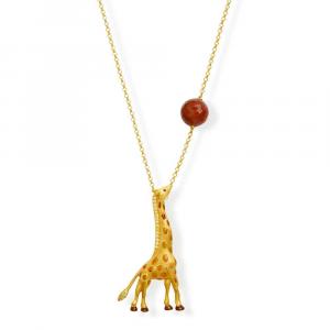 Catena in argento con pendente giraffa in smalto e zirconi
