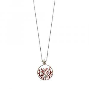 Catena in argento con pendente ramo di corallo in smalto e zirconi
