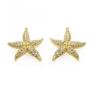 Orecchini a lobo stella marina in argento e pavé di zirconi bianchi