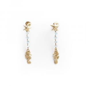 Orecchini pendenti animali marini in argento con pasta di turchesi