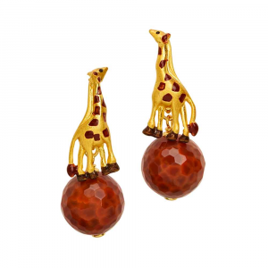 Orecchini pendenti giraffa con sfera in agata fire, smalto e zirconi