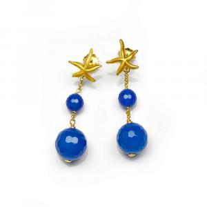 Orecchini pendenti in argento con stella marina e sfere di agata blu