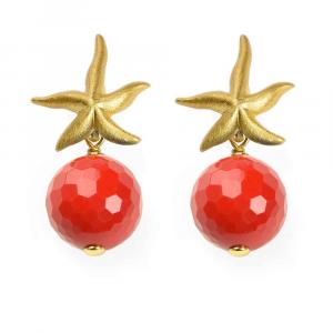 Orecchini pendenti in argento con stella marina e sfera in pasta di corallo