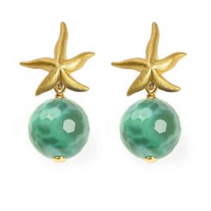 Orecchini pendenti in argento con stella marina e sfera in agata cracked