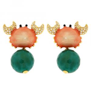 Orecchini pendenti in argento granchio in smalto con sfera di agata verde