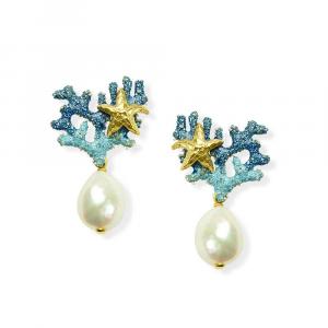 Orecchini pendenti in argento ramo di corallo in smalto blu e perla di acqua dolce