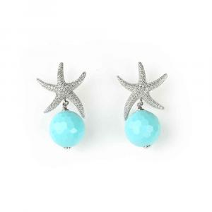 Orecchini pendenti in argento con stella marina di zirconi e sfera di pasta di turchese