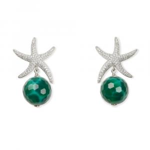 Orecchini pendenti in argento con stella marina di zirconi e sfera di agata verde