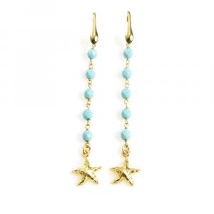 Orecchini pendenti in argento con stella marina e sfere in pasta di turchese