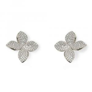 Orecchini a lobo design fiore in argento con pavé di zirconi