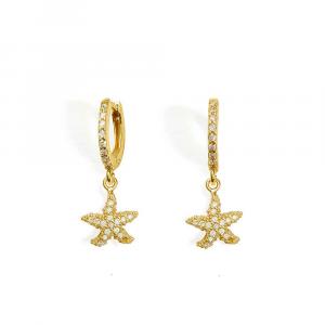 Orecchini pendenti con stella marina in argento e zirconi