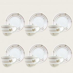 Confezione di 6 Tazzine Decorate con Piattino Coordinato Per La Casa Da Caffè Servizio Di Tazze