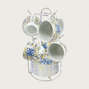 Confezione di 6 Tazzine Da Caffè Con Piattino Coordinato Disponibile Con Un Supporto Di Acciaio Servizio da Caffè Decorato