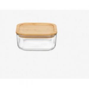 Contenitore Quadrato In Vetro Trasparente per Frigo Con Coperchio In Legno Bamboo 19x19 cm Contenitore Salvaspazio