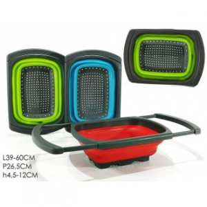 Scolatutto Estensibile In Plastica e Silicone Nero Colori Assortiti Rosso Verde Azzurro Con Manico Pratico
