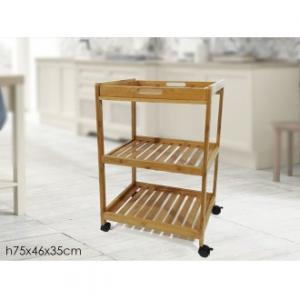 Carrello Multifunzione a 3 Ripiani Con Ruote Trascinabile in Legno Chiaro 46x35x75 cm Per La Cucina e La Casa