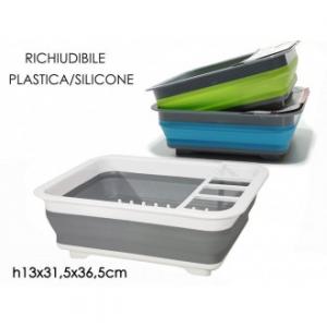Scolapiatti Richiudibile Salva Spazio 31x36x13 cm In Plastica E Silicone Disponibile in Vari Colori Assortiti Verde Blu Grigio Casa Cucina Piatti