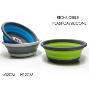Bacinella Richiudibile 32x12cm In Plastica e Silicone Disponibile in Colori Assortiti Verde Azzurro Grigio