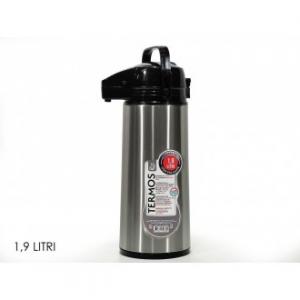 Thermos con Pulsante Per L'Apertura Capacità massima 1,9 litri In Acciaio Inox Grigio con Tappo Nero