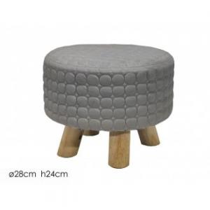 Pouf Colore Grigio Tondo con Piedi D'Appoggio In Legno 28x24 cm Decorato a Forma di Cerchi Per Arredare