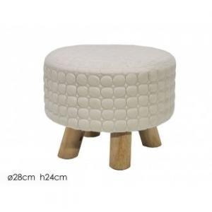 Pouf Colore Crema Tondo con Piedi D'Appoggio In Legno 28x24 cm Decorato a Forma di Cerchi Per Arredare