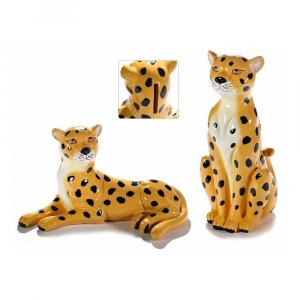 Leopardo salvadanaio in resina colorata