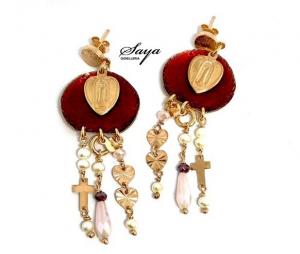 Sacramore, orecchini in argento rosè e smalto rosso