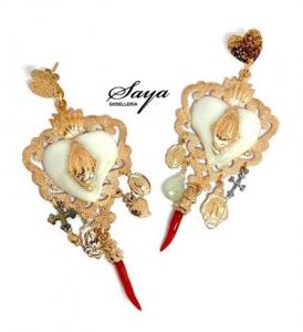 Sacramore, orecchini cuore sacro in argento rosè