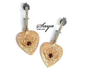 Sacramore, orecchini a cuore in argento rosè