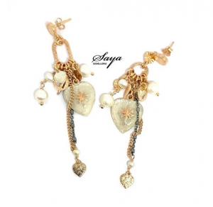 Sacramore, orecchini in argento rosè con cuore sacro