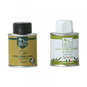 Campioni d'assaggio in lattine da 100ml Olio EVO cultivar Ogliarola e Olio EVO cultivar Frantoio-Terre di Ostuni-