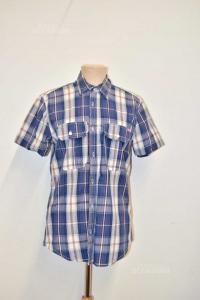 Shirt Man Jack & Jones Blue White Lines Orange Size.m