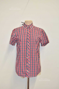 Shirt Man Pull&bear Checkered Red White Blue Size.s