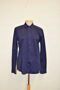 Shirt Man Blue With Cuffs Floral Selected Homme Size M
