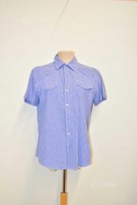 Shirt Man Sleeve Short Small Painting Light Blue Terranova Size M
